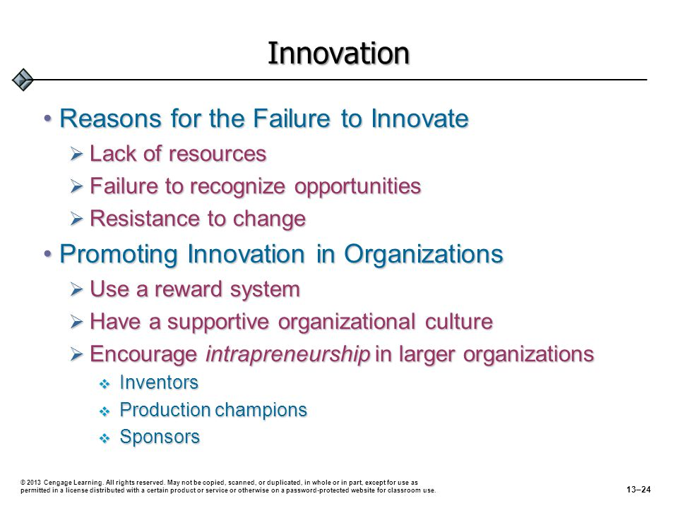 Innovation Reasons for the Failure to Innovate