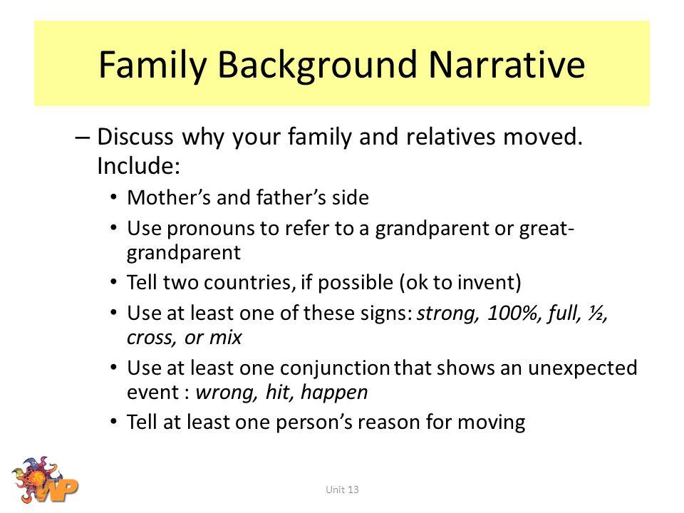 Family Background Narrative