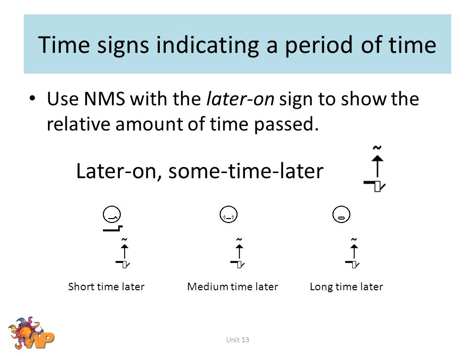 Time signs indicating a period of time