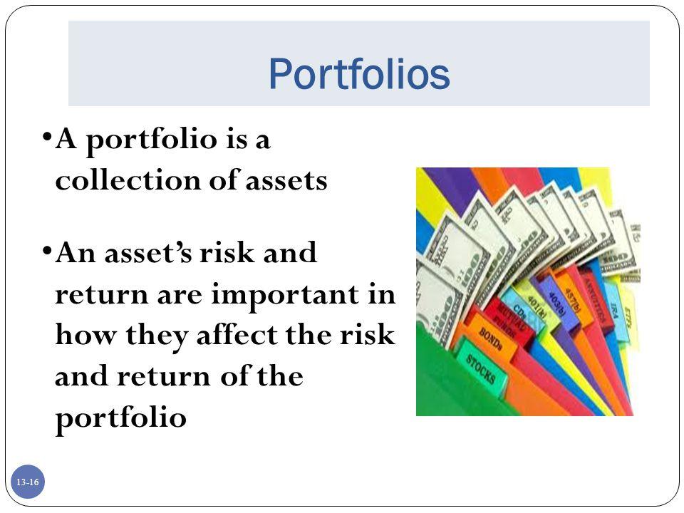 Portfolios A portfolio is a collection of assets