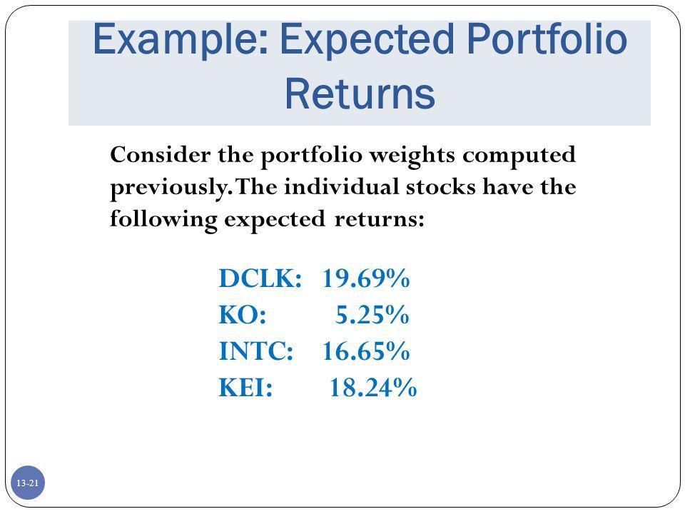 Example: Expected Portfolio Returns