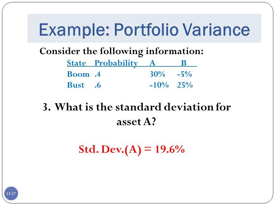 Example: Portfolio Variance