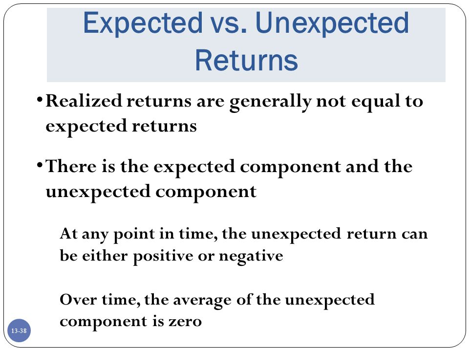 Expected vs. Unexpected Returns