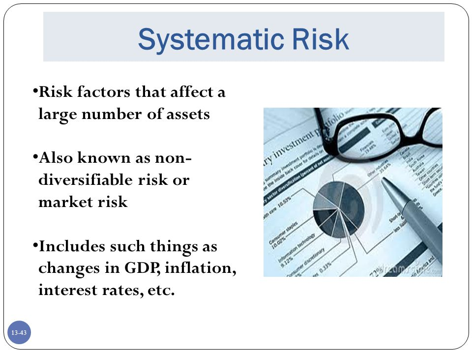 Systematic Risk Risk factors that affect a large number of assets