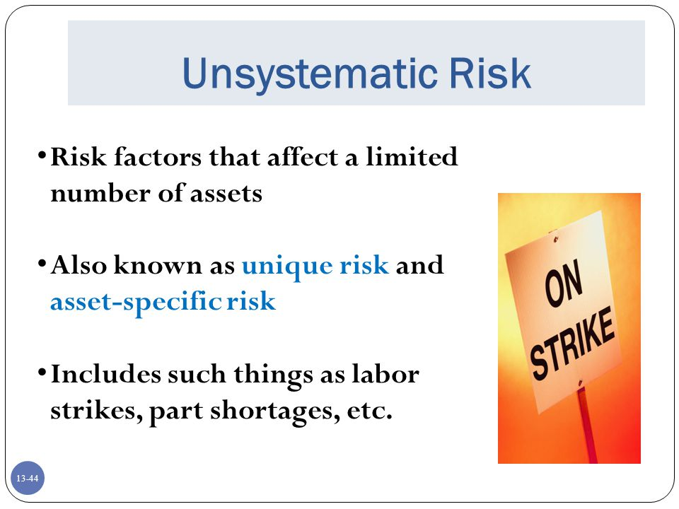 Unsystematic Risk Risk factors that affect a limited number of assets