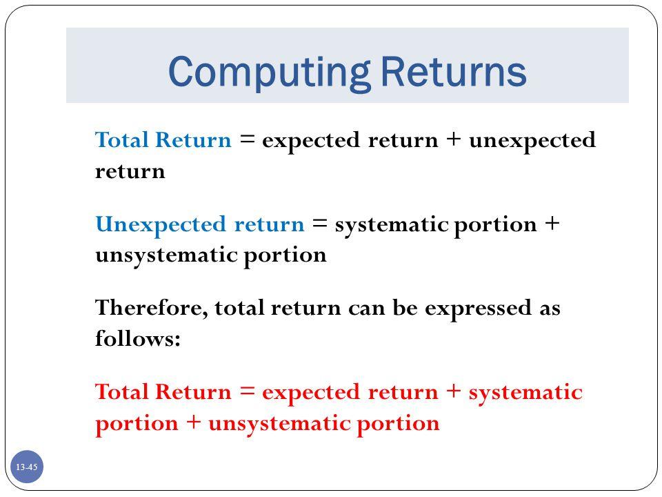 Computing Returns Total Return = expected return + unexpected return