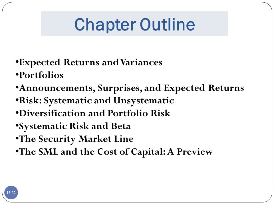 Chapter Outline Expected Returns and Variances Portfolios