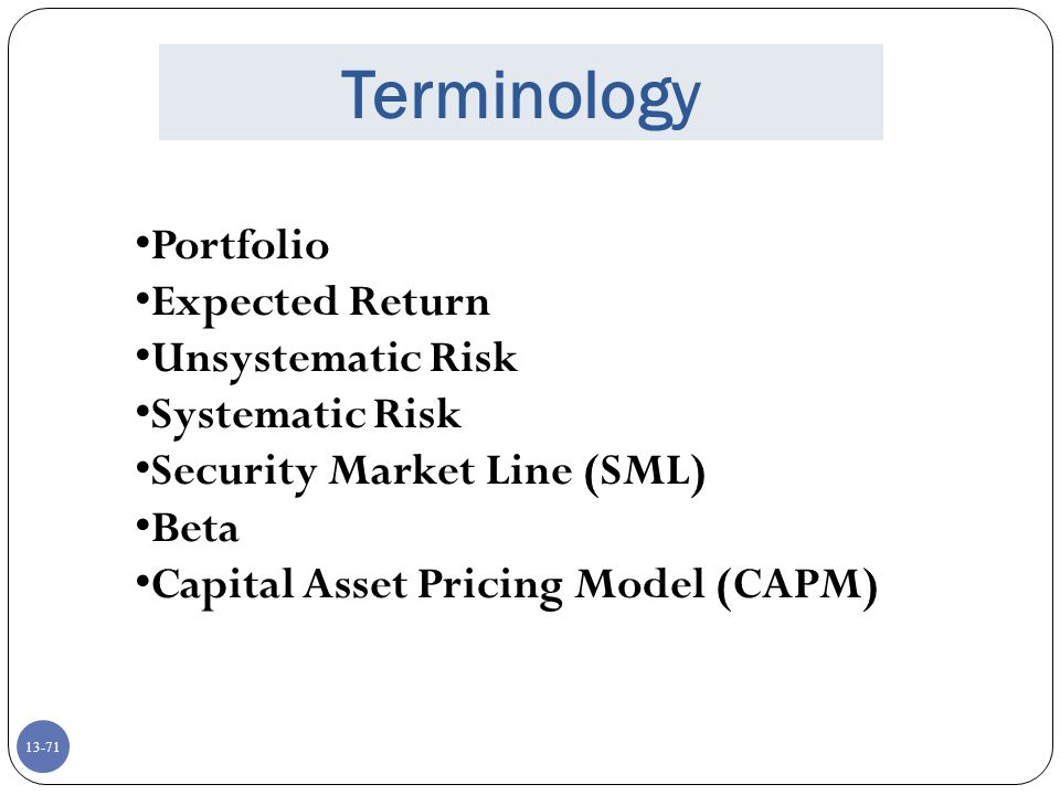 Terminology Portfolio Expected Return Unsystematic Risk