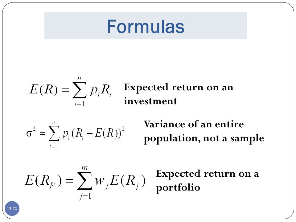 Formulas Expected return on an investment