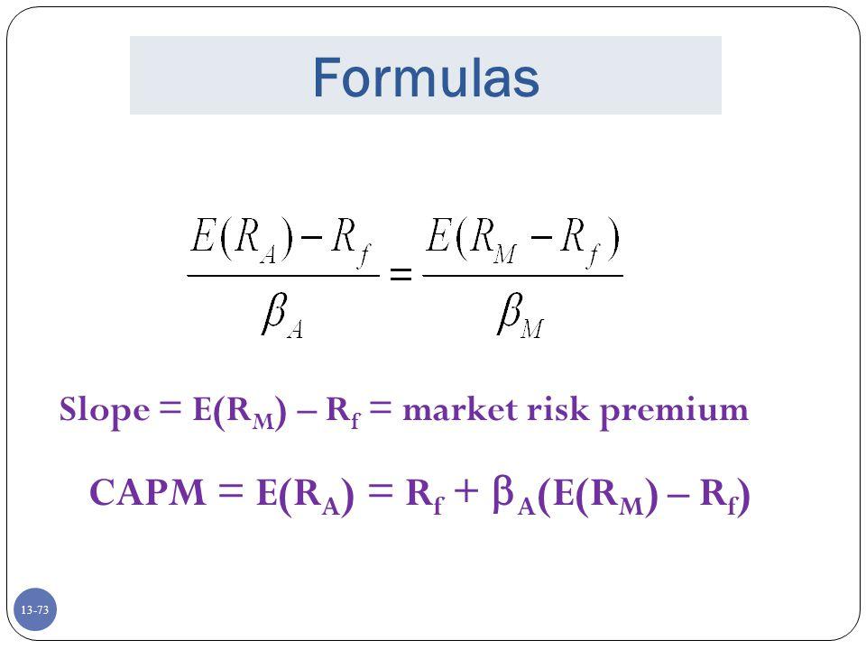 CAPM = E(RA) = Rf + A(E(RM) – Rf)