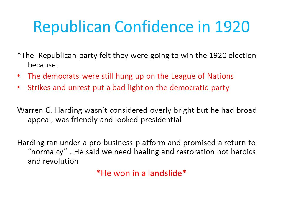 Republican Confidence in 1920