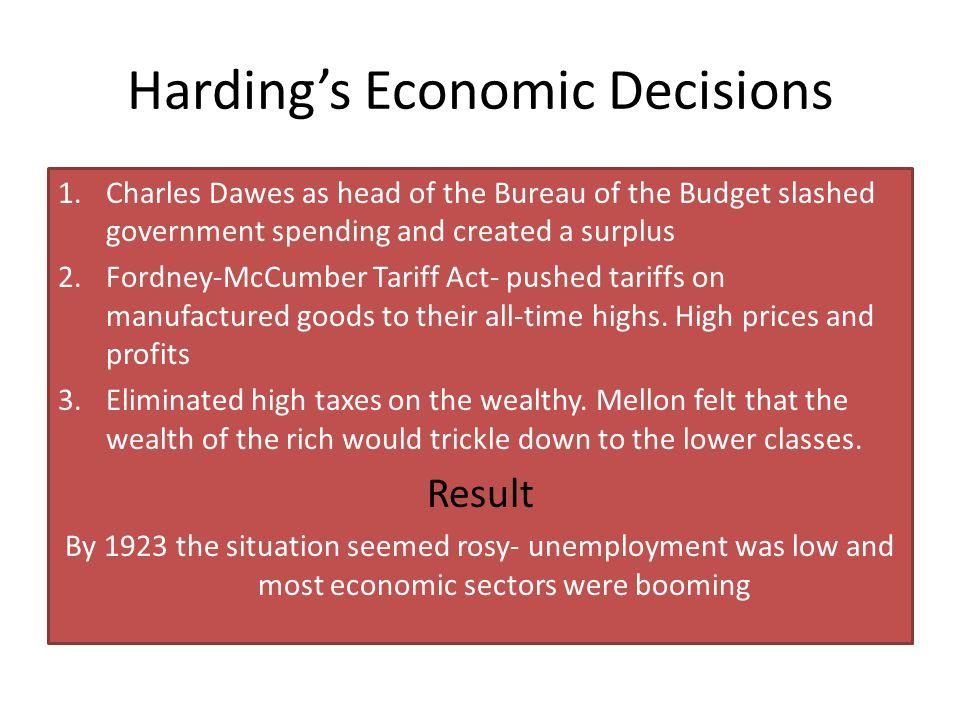 Harding's Economic Decisions