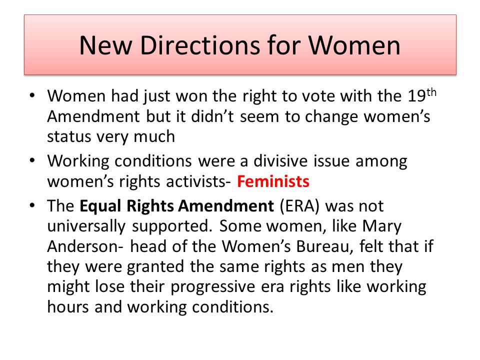 New Directions for Women
