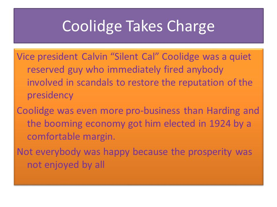 Coolidge Takes Charge