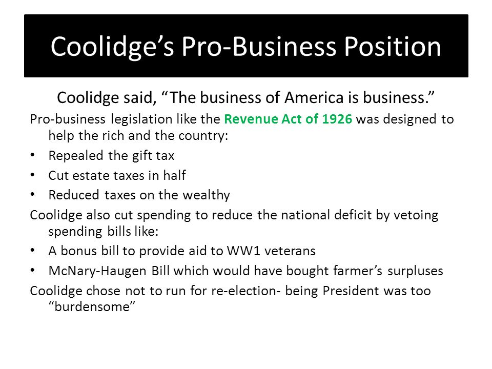 Coolidge's Pro-Business Position