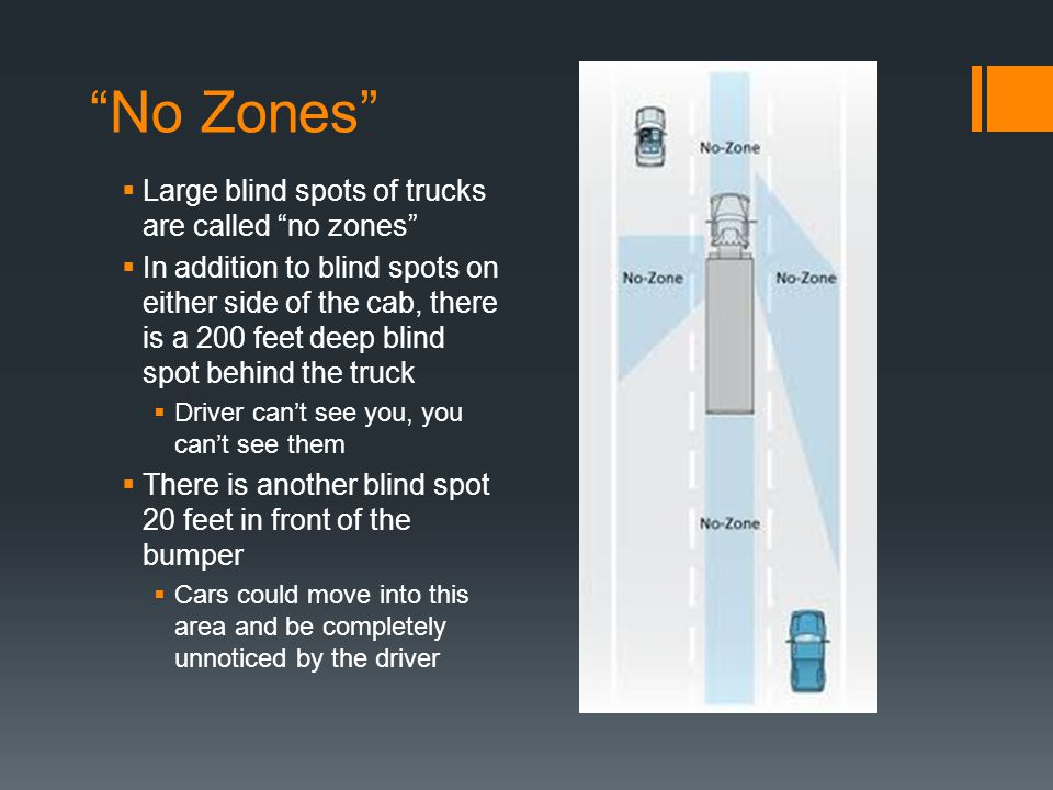 No Zones Large blind spots of trucks are called no zones