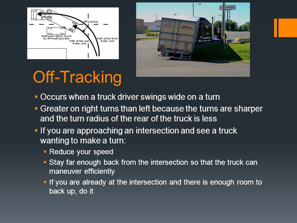 Off-Tracking Occurs when a truck driver swings wide on a turn