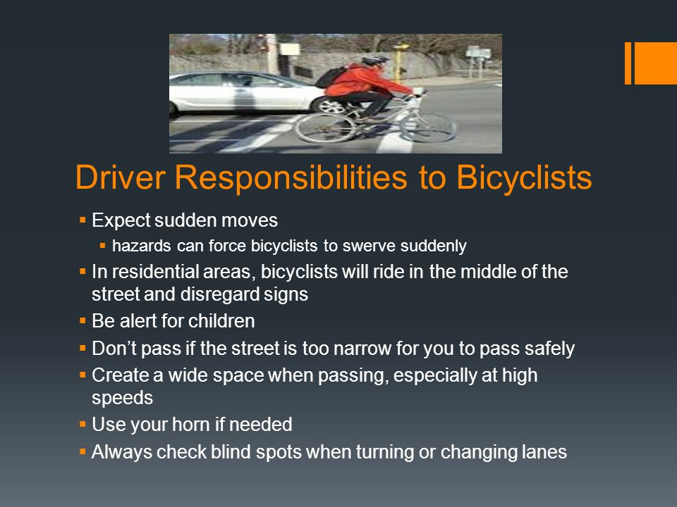 Driver Responsibilities to Bicyclists