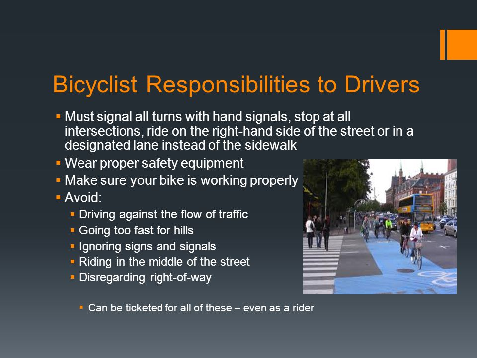 Bicyclist Responsibilities to Drivers