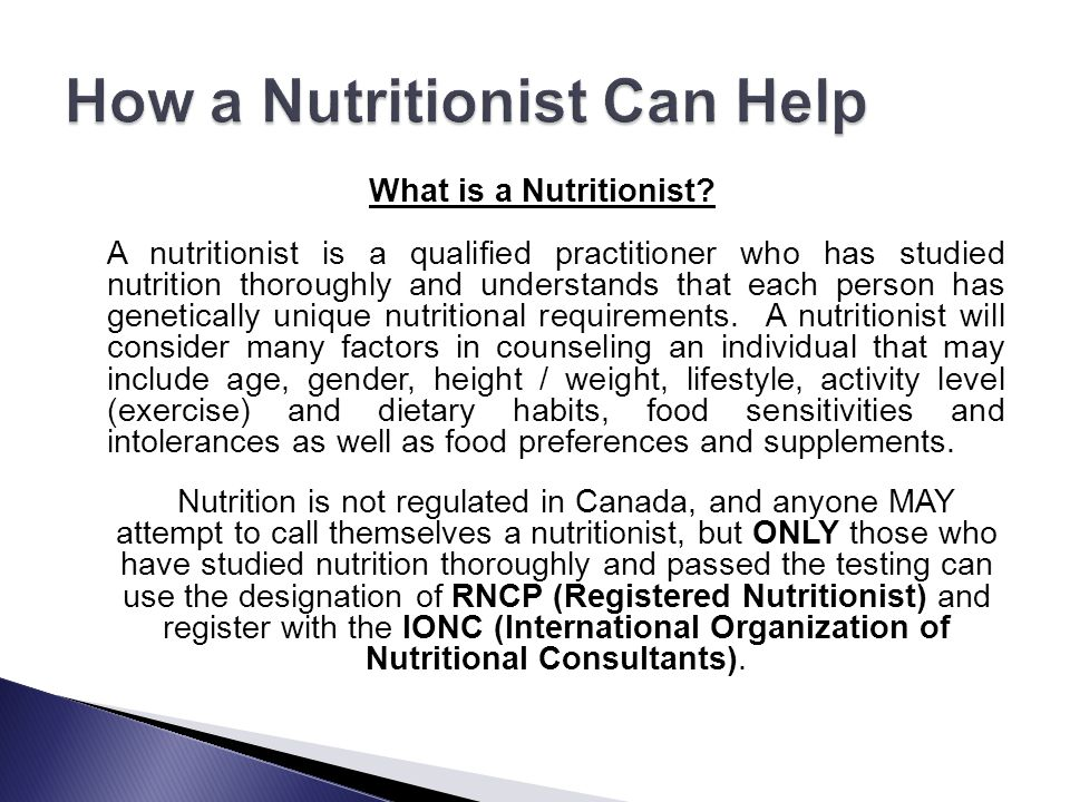How a Nutritionist Can Help