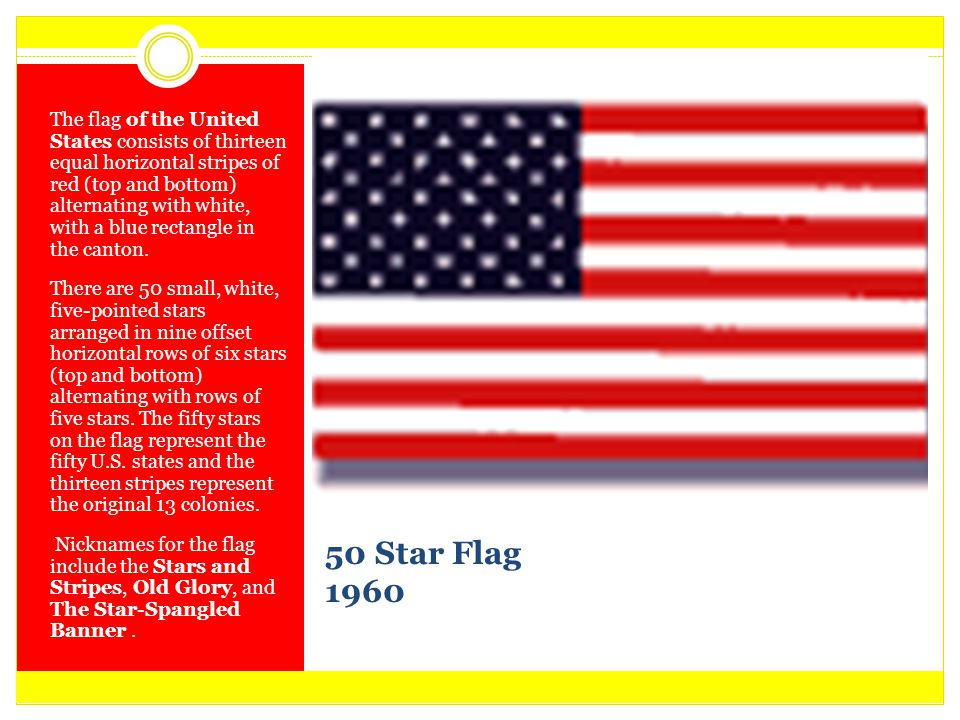 The flag of the United States consists of thirteen equal horizontal stripes of red (top and bottom) alternating with white, with a blue rectangle in the canton.