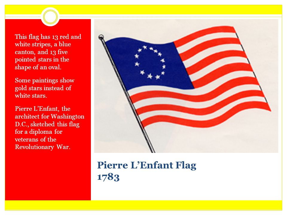 This flag has 13 red and white stripes, a blue canton, and 13 five pointed stars in the shape of an oval.