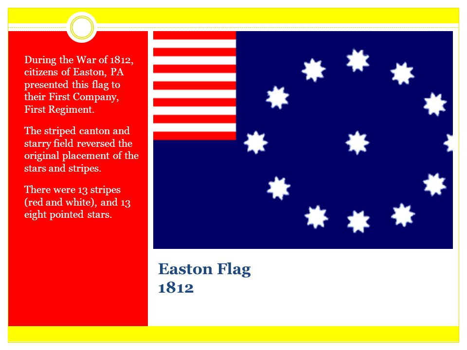 During the War of 1812, citizens of Easton, PA presented this flag to their First Company, First Regiment.