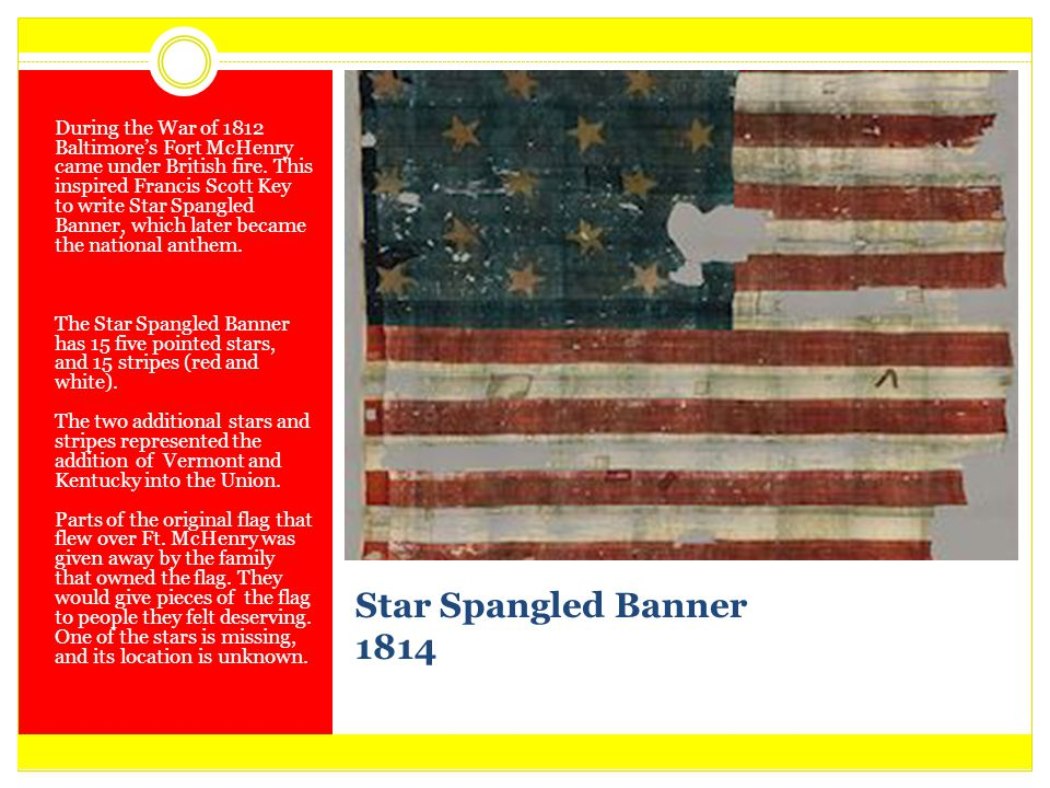 During the War of 1812 Baltimore's Fort McHenry came under British fire. This inspired Francis Scott Key to write Star Spangled Banner, which later became the national anthem.