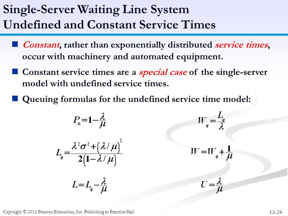 Single-Server Waiting Line System Undefined and Constant Service Times