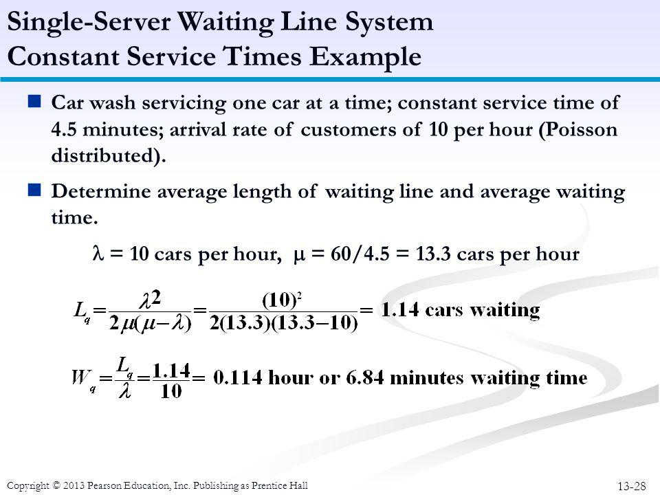 Single-Server Waiting Line System Constant Service Times Example