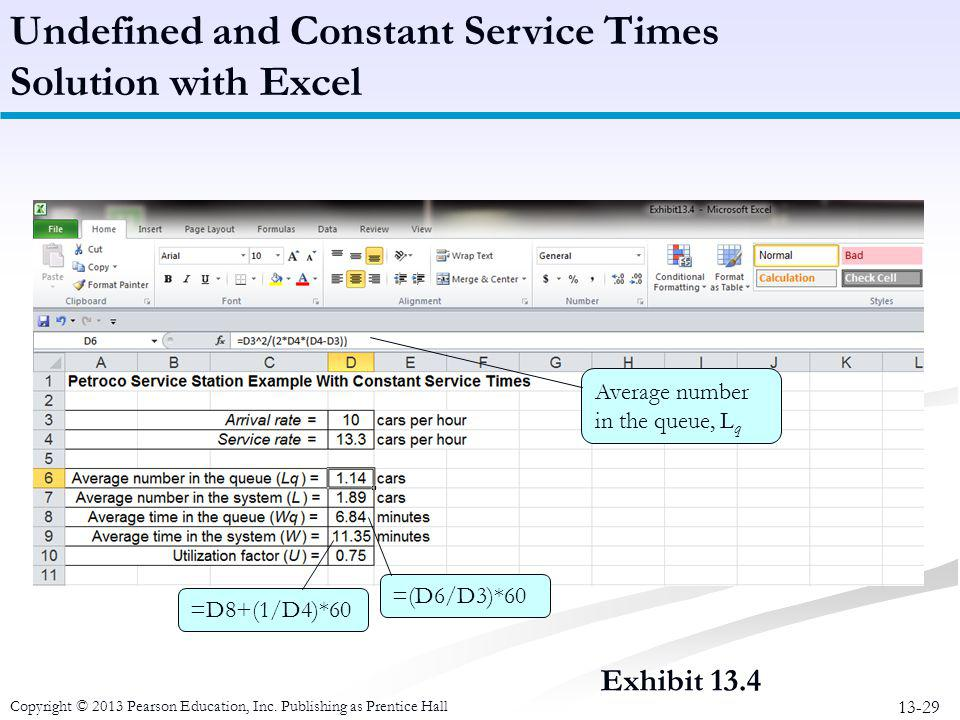 Undefined and Constant Service Times Solution with Excel
