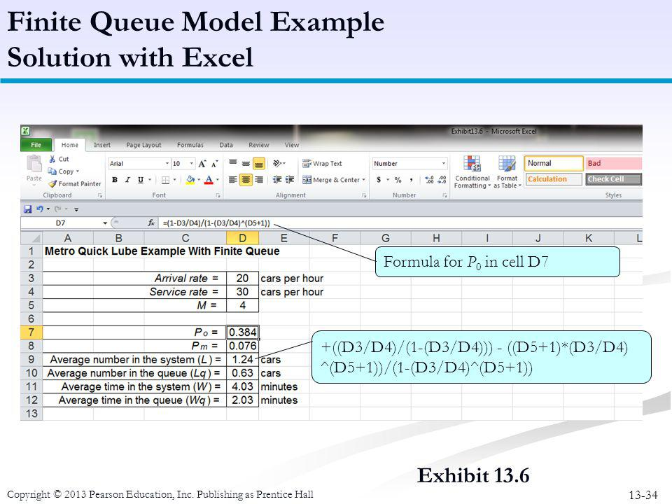 Finite Queue Model Example Solution with Excel