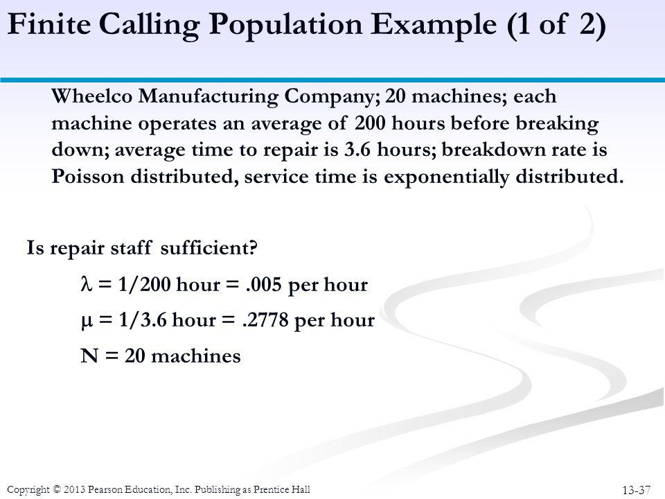 Finite Calling Population Example (1 of 2)