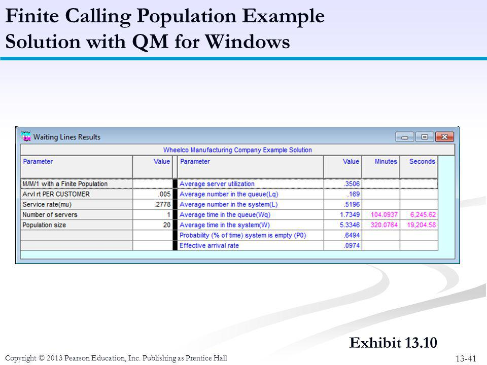 Finite Calling Population Example Solution with QM for Windows