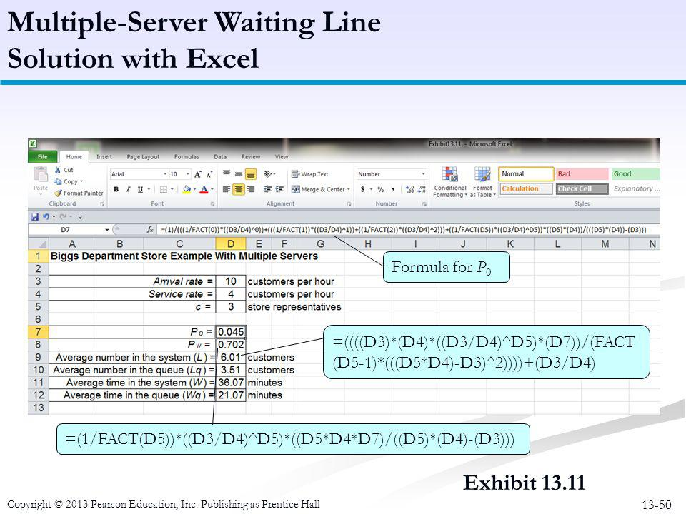 Multiple-Server Waiting Line Solution with Excel