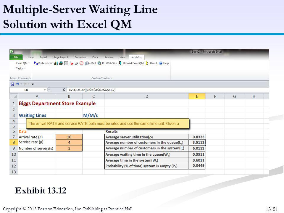 Multiple-Server Waiting Line Solution with Excel QM