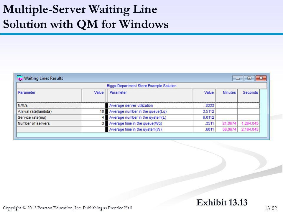 Multiple-Server Waiting Line Solution with QM for Windows