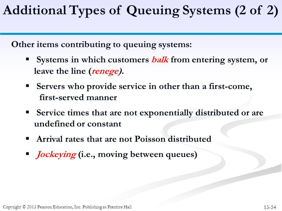 Additional Types of Queuing Systems (2 of 2)