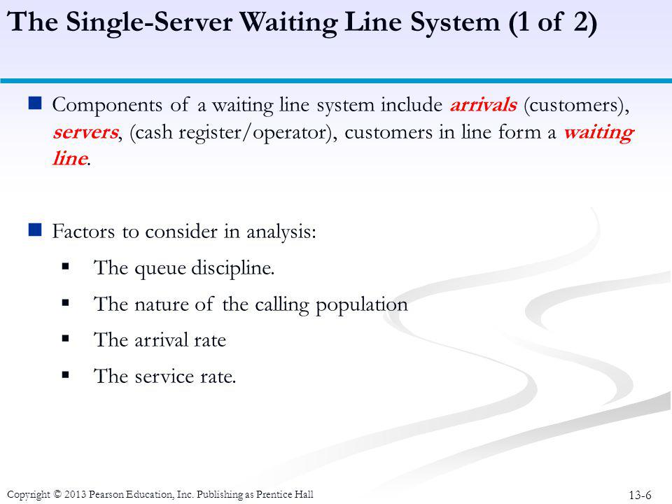 The Single-Server Waiting Line System (1 of 2)
