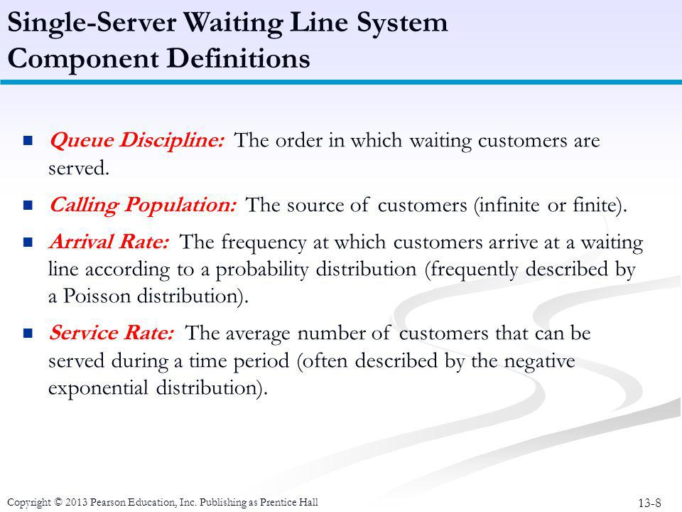 Single-Server Waiting Line System Component Definitions