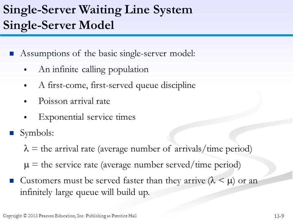Single-Server Waiting Line System Single-Server Model