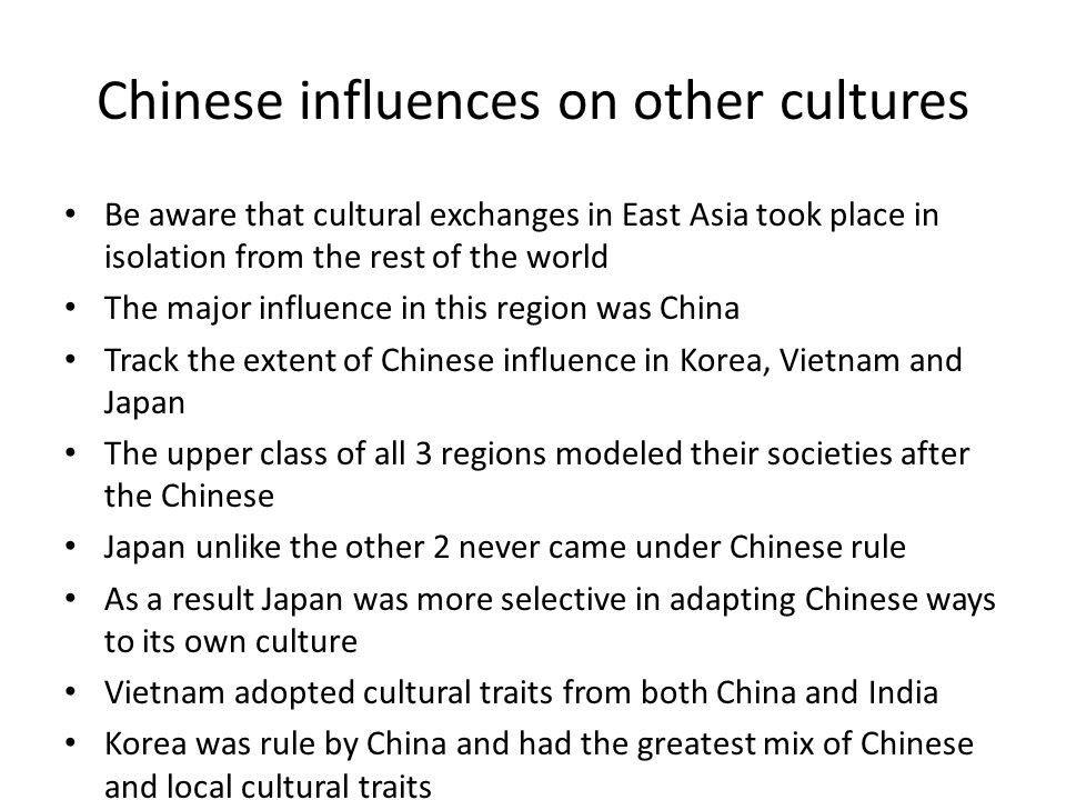 Chinese influences on other cultures