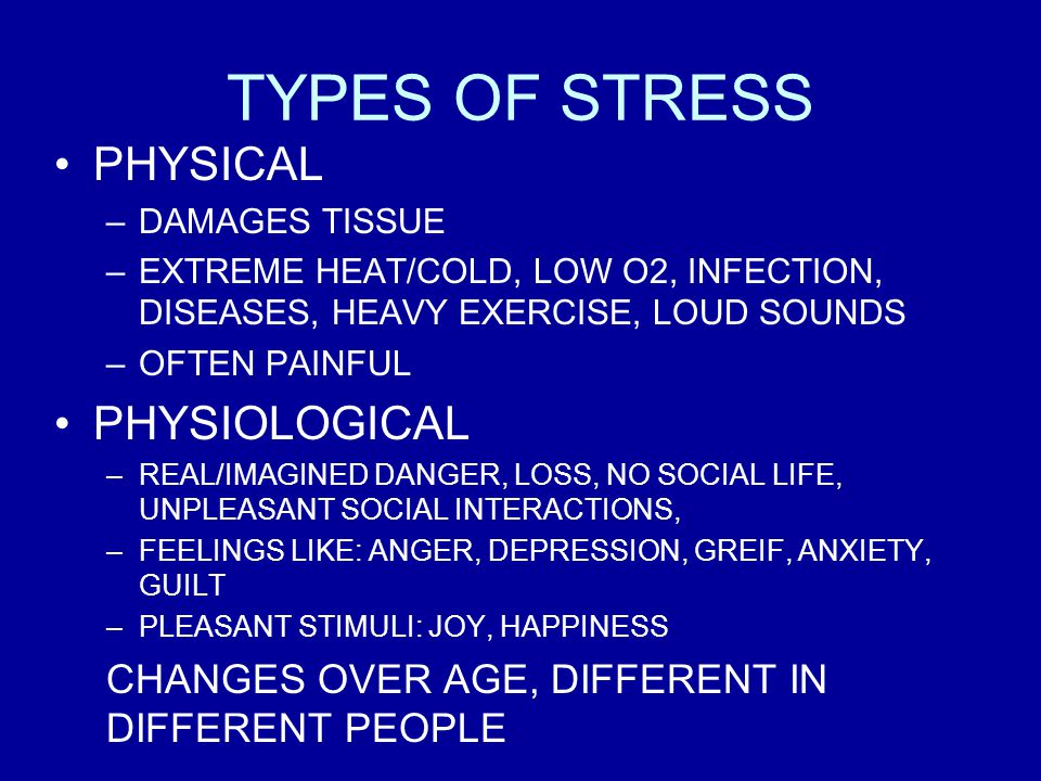 TYPES OF STRESS PHYSICAL PHYSIOLOGICAL