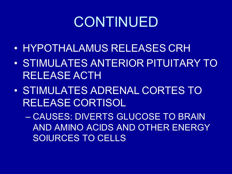 CONTINUED HYPOTHALAMUS RELEASES CRH