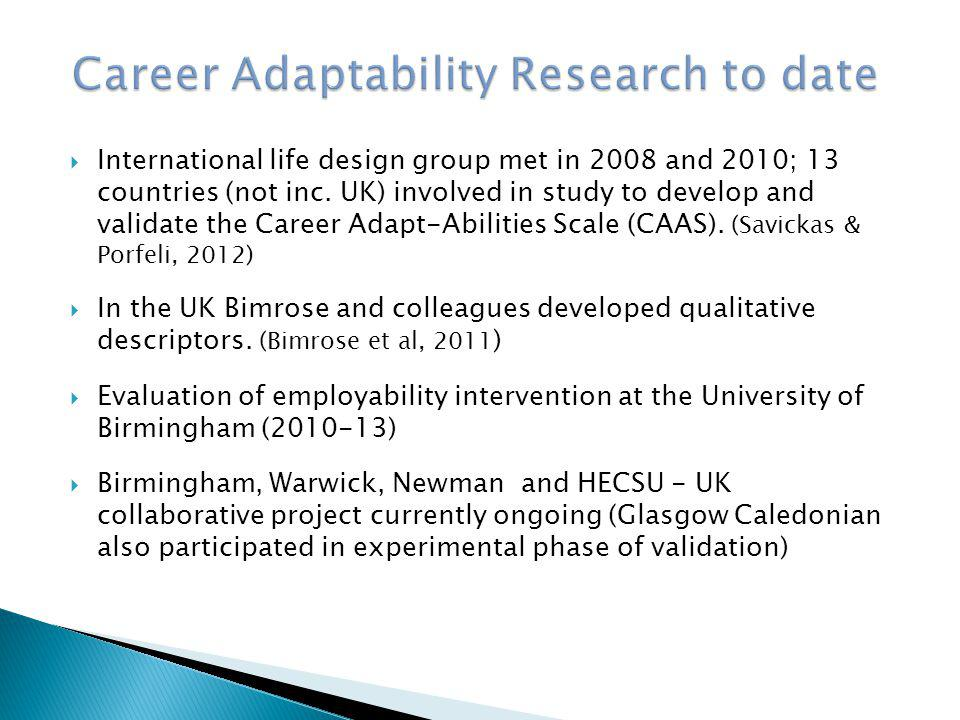 Career Adaptability Research to date