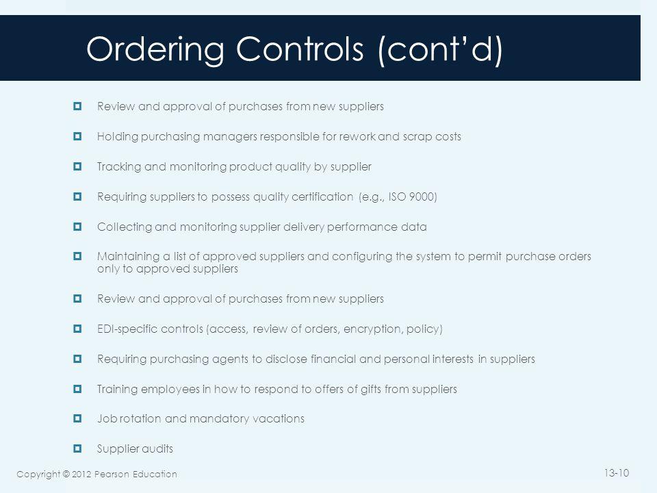 Ordering Controls (cont'd)