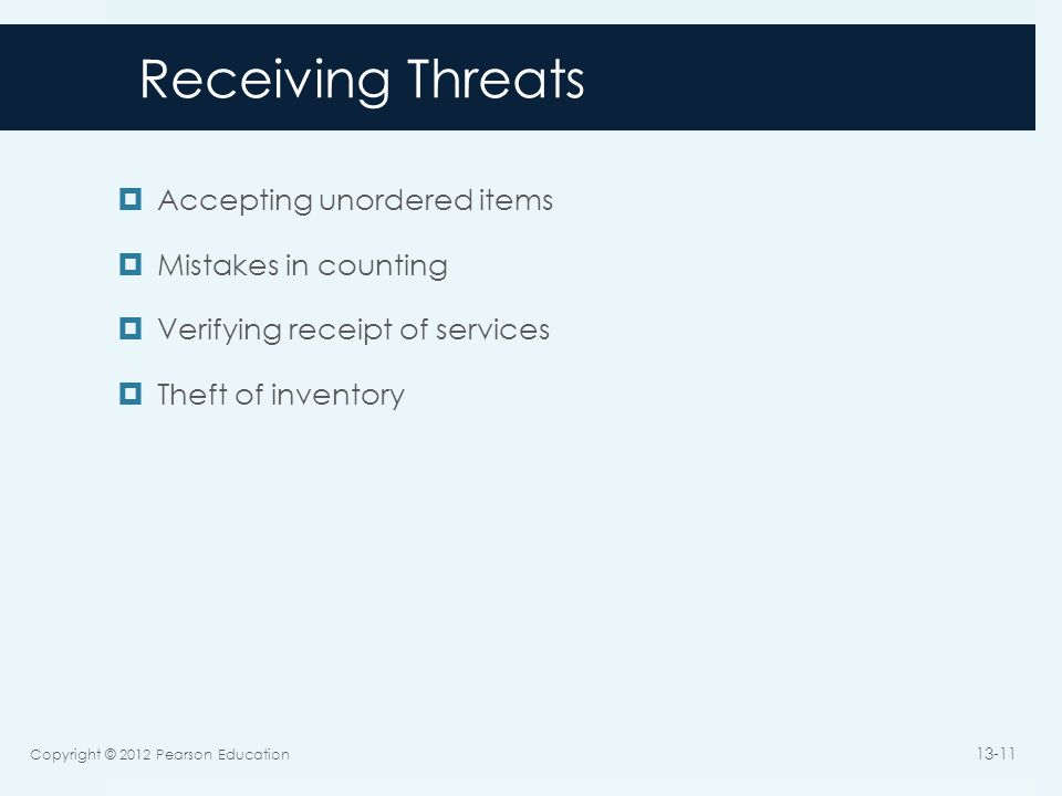 Receiving Threats Accepting unordered items Mistakes in counting
