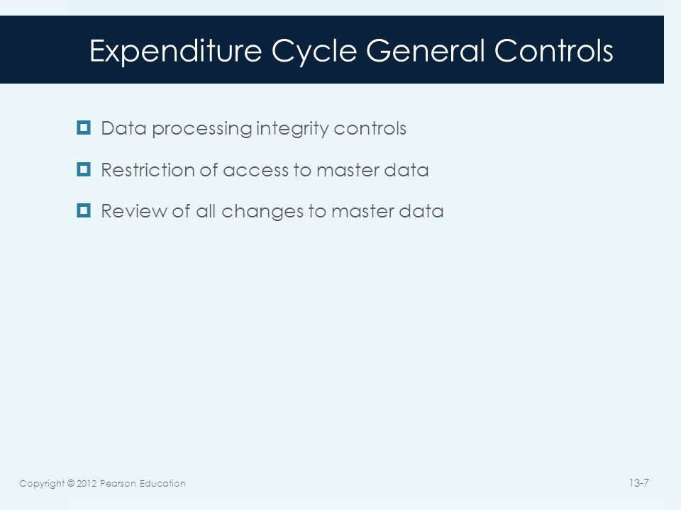 Expenditure Cycle General Controls