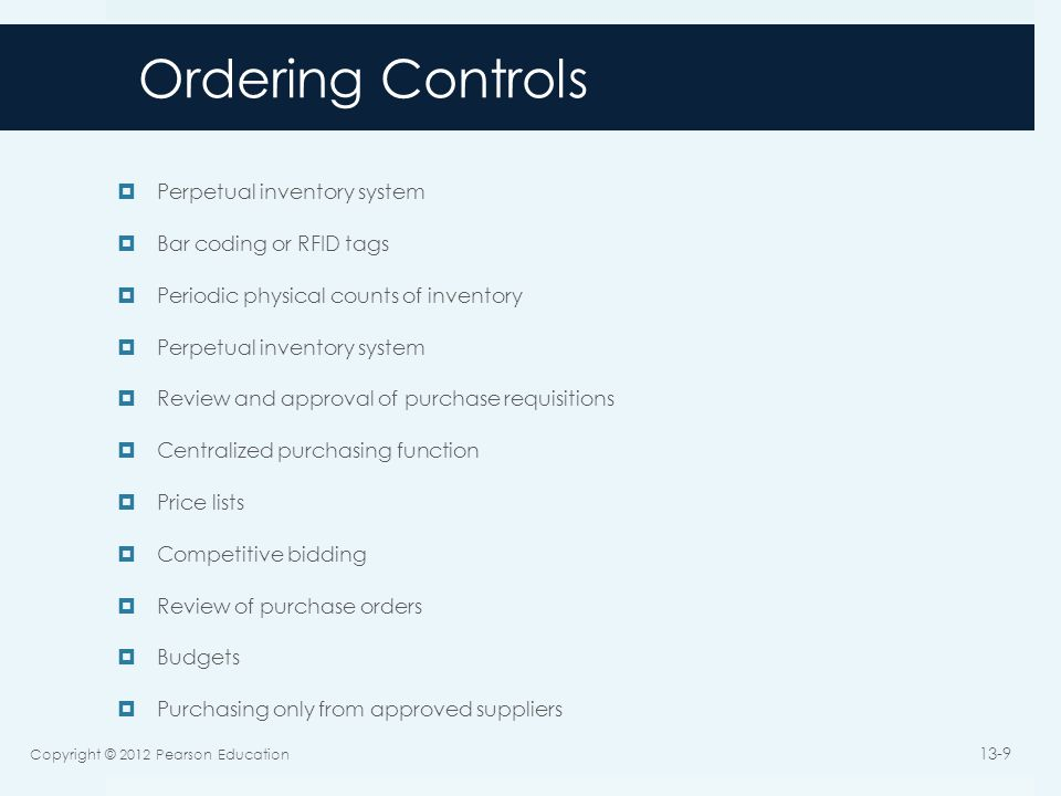 Ordering Controls Perpetual inventory system Bar coding or RFID tags