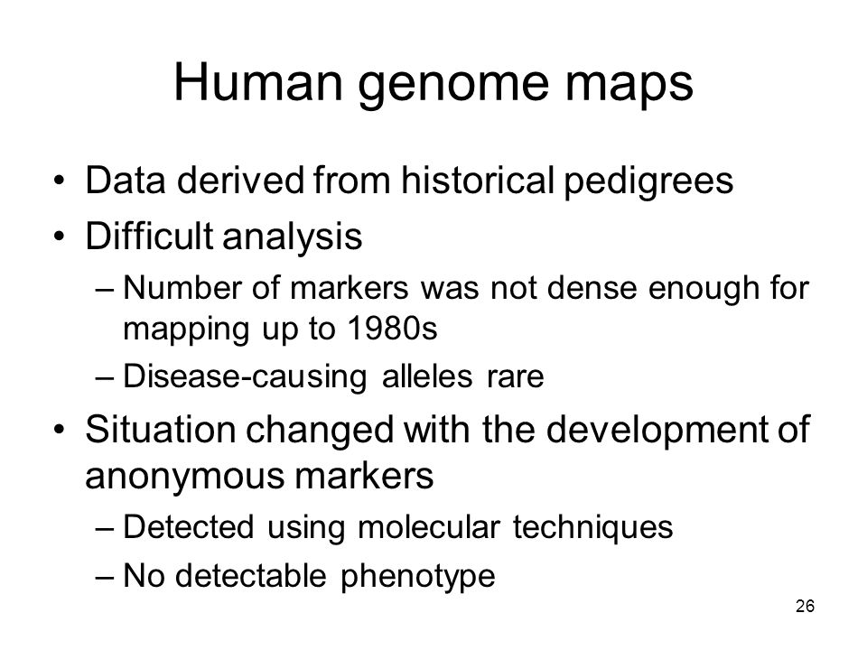 Human genome maps Data derived from historical pedigrees